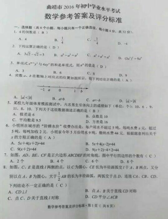 2016曲靖数学中考试题