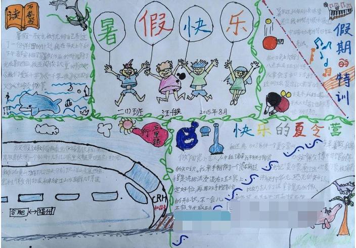 有关小学生快乐的暑假手抄报:假期特刊