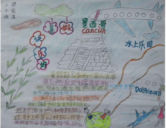 有关小学暑假旅游手抄报精选:快乐的暑假