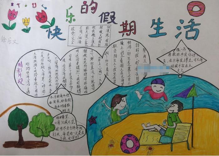 精选小学生暑假生活手抄报:快乐的暑假生活