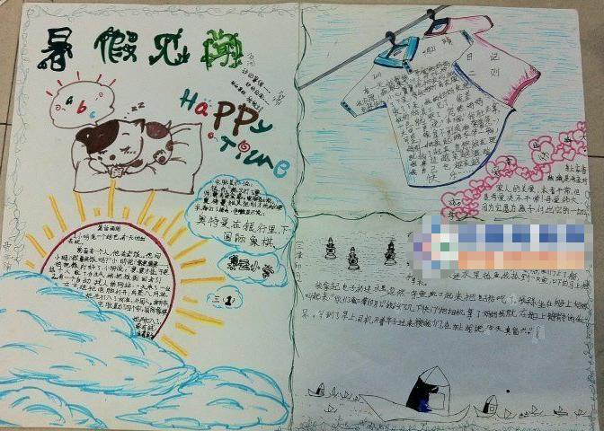 关于小学生暑假见闻手抄报:happy time