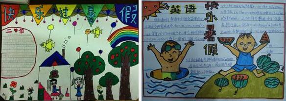 二年级暑假英语手抄报:我的暑假   》》》小学二年级暑假手抄报