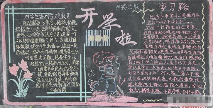 小学生开学黑板报设计:开学啦