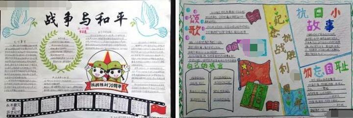 抗战胜利 ③ 小学生抗战胜利纪念日手抄报:勿忘国耻   ④ 中国人民