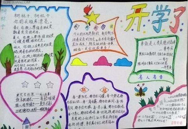 关于开学手抄报精选设计 开学了图片