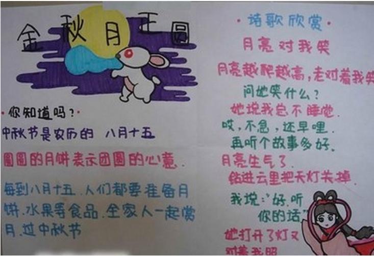 小学生中秋节手抄报设计 金秋月正圆图片