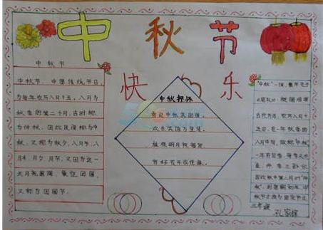 中秋节快乐手抄报样本素材