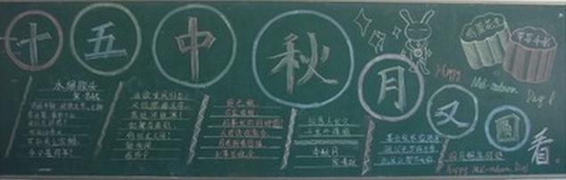 有关中秋节黑板报素材:十五中秋月又圆图片