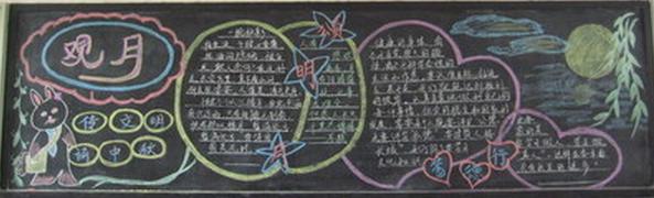 中秋节黑板报设计:观月