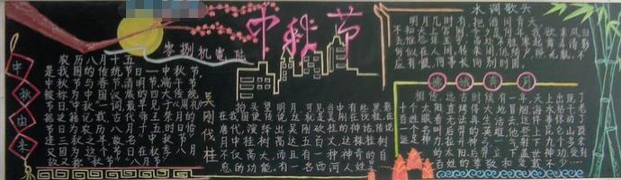 中秋节黑板报设计素材:中秋节