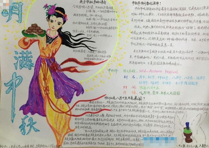 中秋节手抄报设计内容:月满中秋