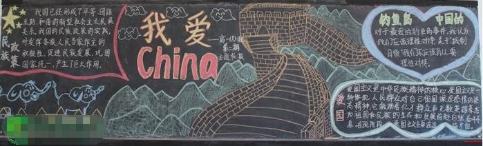有关小学国庆节黑板报素材:我爱中国