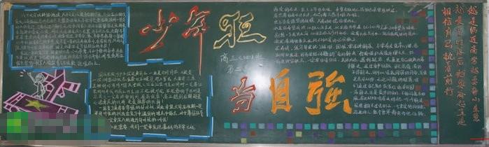 小学生国庆节黑板报设计:少年强,当自强