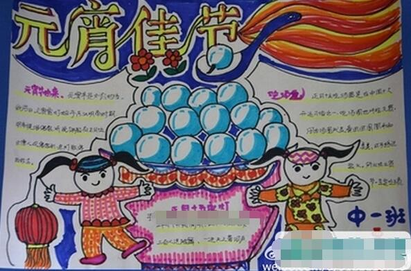 闹元宵节手抄报设计:十五闹元宵 ◆◆小学生欢度元宵节手抄报:乐