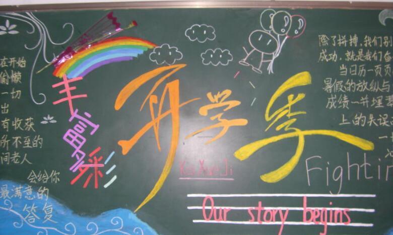 【小学生开学黑板报图片:开学啦】