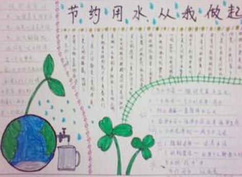 小学生节约用水手抄报素材:节约用水,从我做起