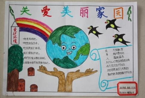 小学生地球日手抄报图片:关爱美丽的地球