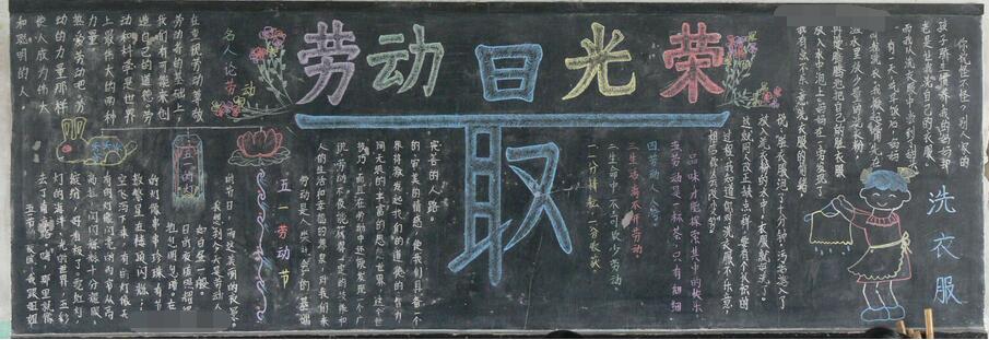 欢庆五一黑板报设计:劳动最光荣