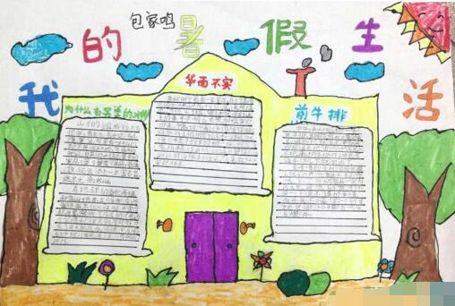 作文 手抄报  暑假像一本受益匪浅的书,记录着快乐与智慧;暑假像一个图片