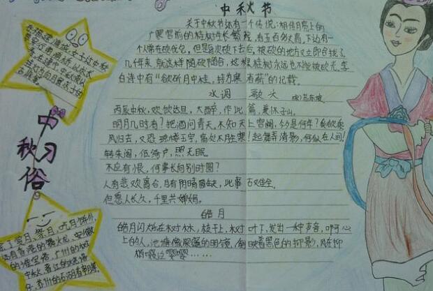 小学生中秋节习俗手抄报:中秋节习俗