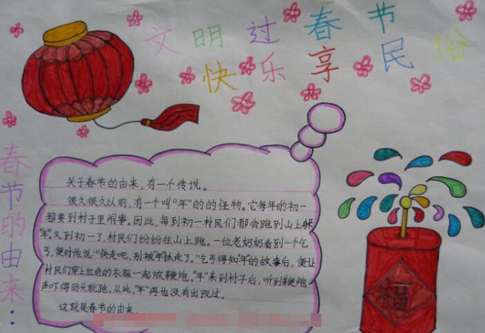 有关春节手抄报设计图片:文明过春节