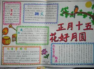 元宵节手抄报版面设计图:正月十五 花好月圆