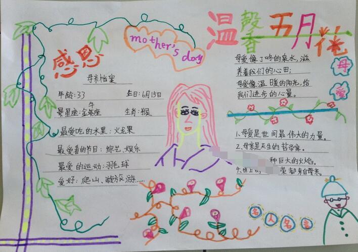 关于母爱的手抄报设计:温馨五月花
