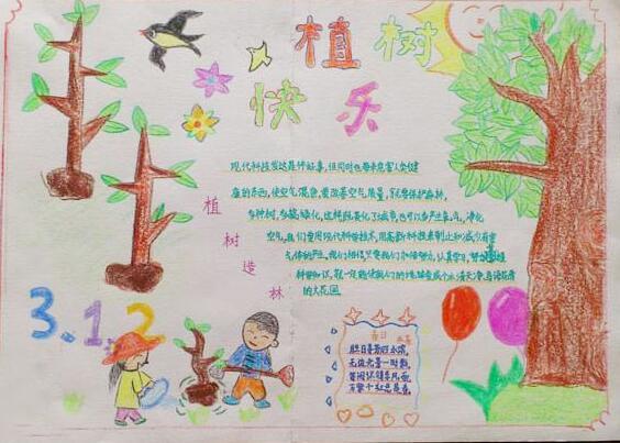 3.12植树节手抄报主题:快乐植树节