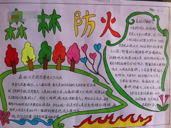 小学生防火手抄报图片:森林防火
