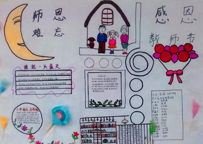 【快乐阅读手抄报模板】小学生快乐的教师节手抄报模板:感恩节快乐
