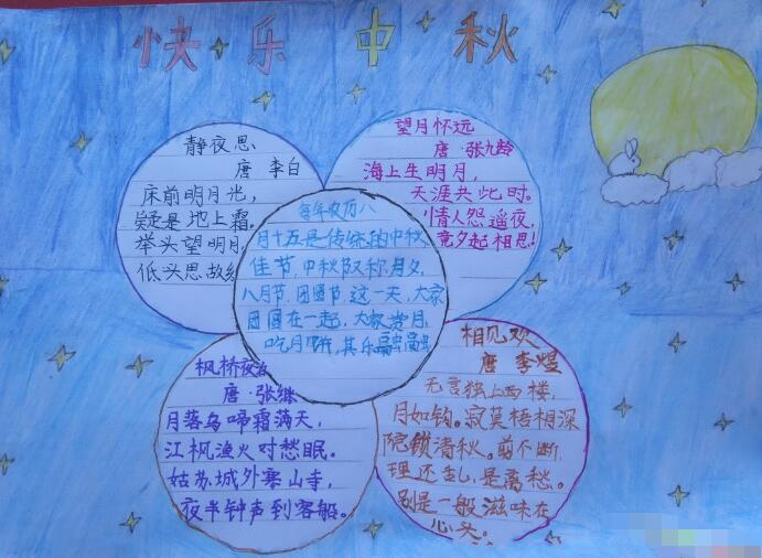 【浓度中秋节快乐】小学生快乐的中秋节手抄报设计:中秋快乐