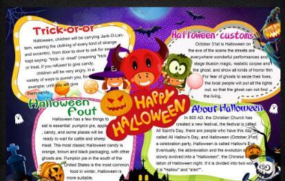 万圣节英语手抄报图片大全|有关2017万圣节手抄报图片:Happy Halloween