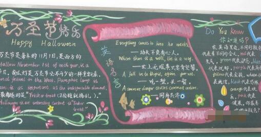 [快乐的万圣节钢琴曲]小学生万圣节快乐黑板报图片:HALLOWEEN万圣节快乐