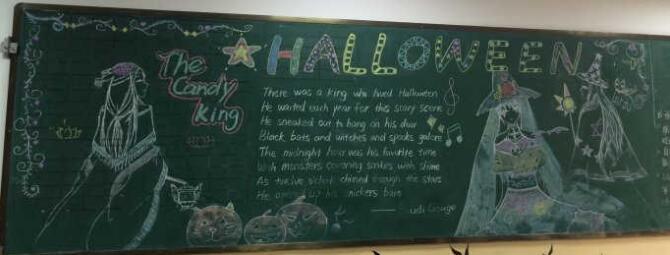 【halloween什么意思啊】Halloween万圣节黑板报素材:Halloween Happy