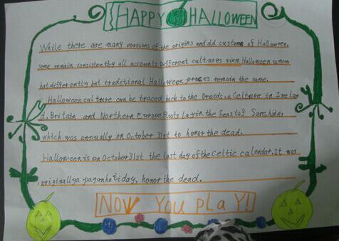 万圣节英语手抄报内容_有关万圣节手抄报内容:Happy Halloween
