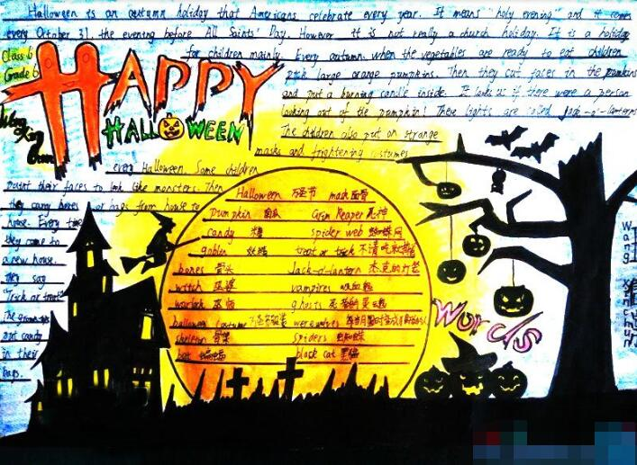 【万圣节英语手抄报图片大全】小学生快乐的万圣节手抄报图片:Happy Halloween