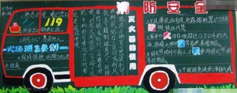 【消防安全黑板报图片大全图片】119消防安全黑板报设计:消防安全119