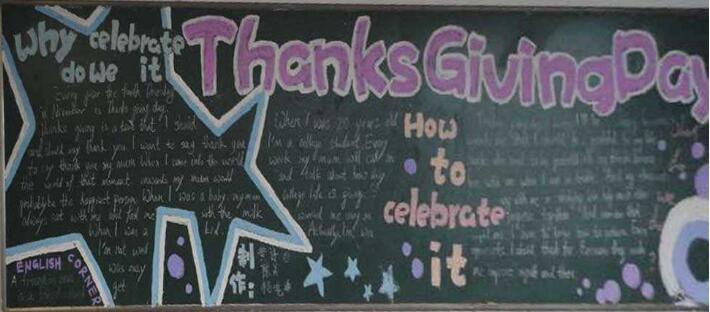 【感恩节黑板报设计图片】有关感恩节英文黑板报设计:Thanksgiving Day
