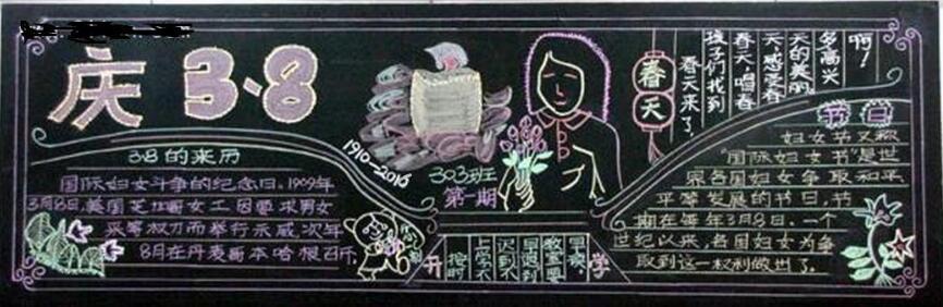 [庆祝三八妇女节文章]小学生庆祝三八妇女节黑板报:庆3.8