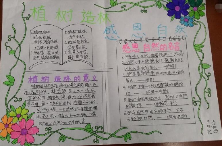 植树节手抄报图片大全_3月12日植树节手抄报素材:植树造林