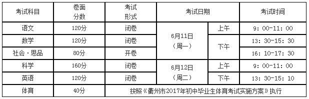 衢州2018年中考时间