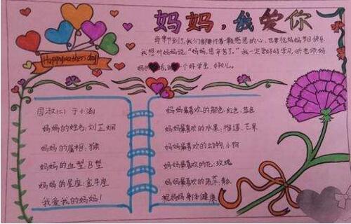 [小学一年级数学练习题]小学生母亲节手抄报设计:妈妈,我爱你