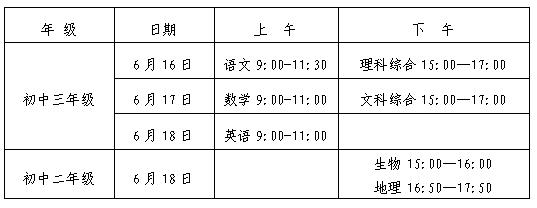 2019年湖南长沙中考考试时间